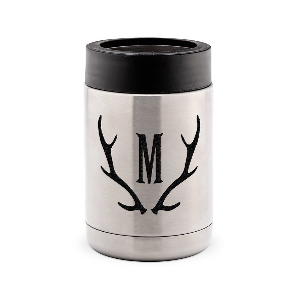 Custom Stainless Steel Insulated Beer Can Koozie - Antler Monogram
