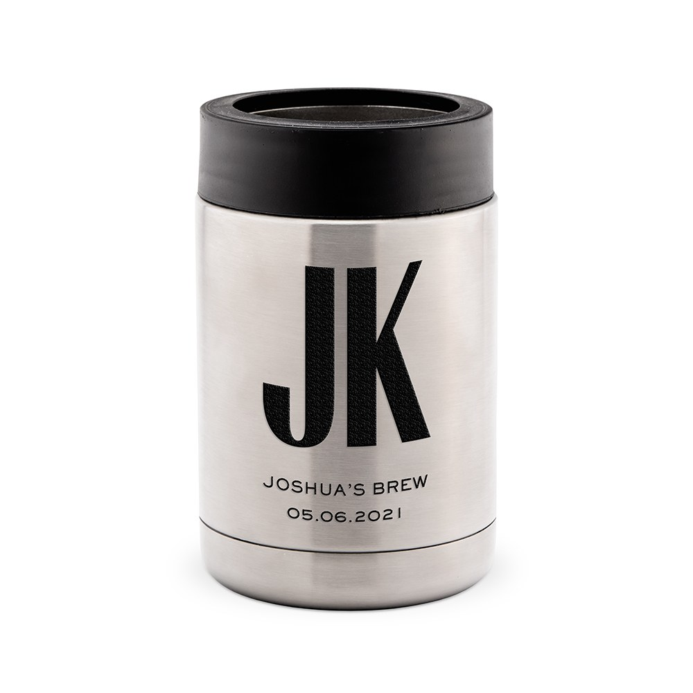 Custom Stainless Steel Insulated Beer Can Koozie - Sans Serif Monogram