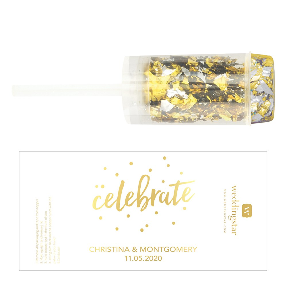 Personalized Push-Up Confetti Popper - Celebrate