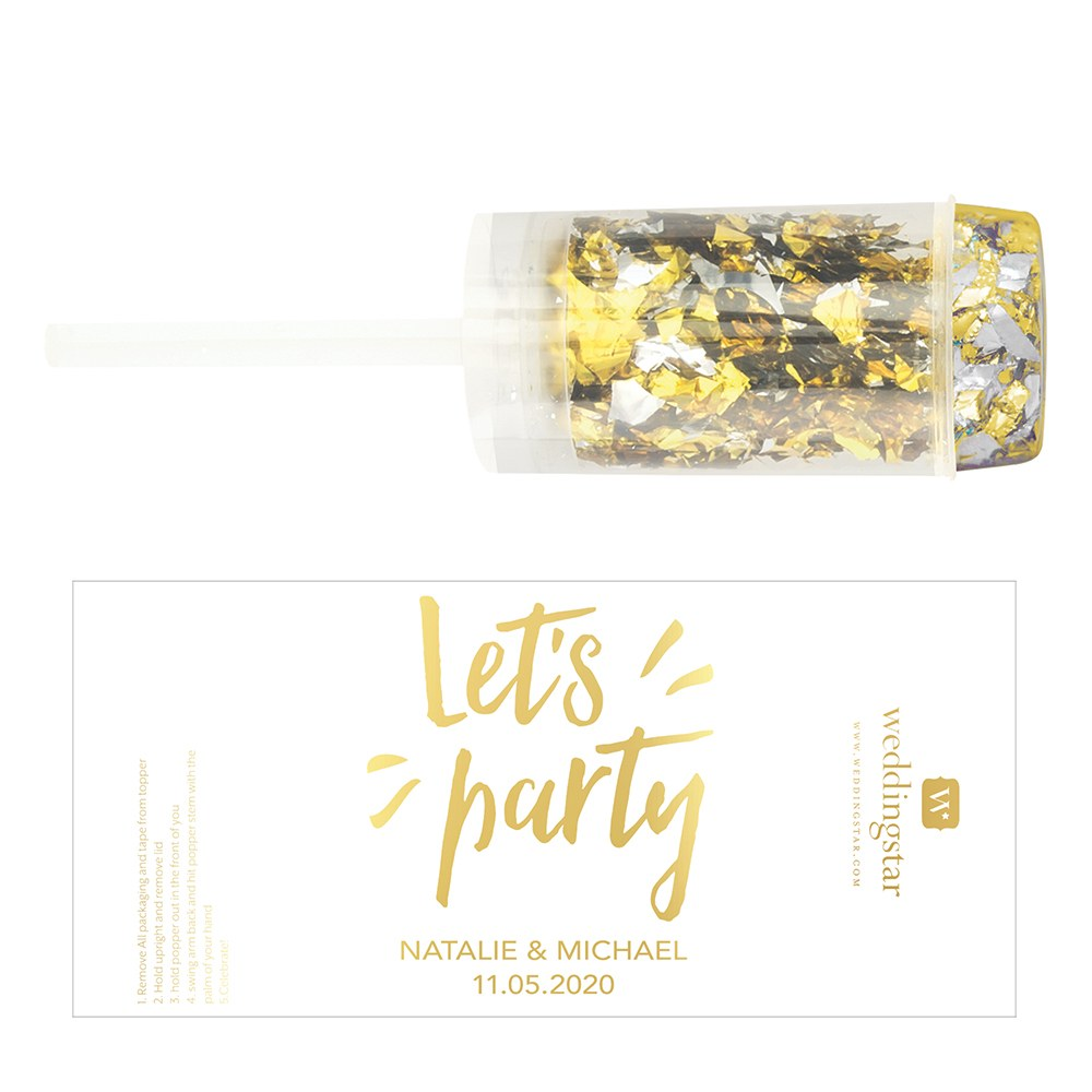 Personalized Push-Up Confetti Popper - Let's Party