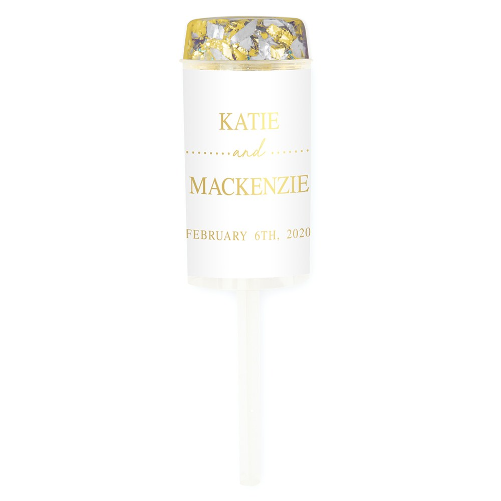 Personalized Push-Up Confetti Popper - Classic Couple