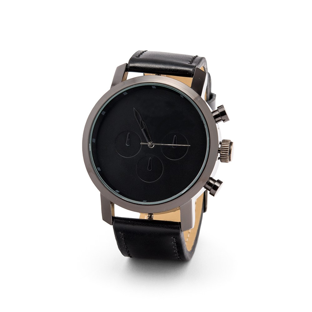Personalized Men's Black Wristwatch - Wrap Text Monogram