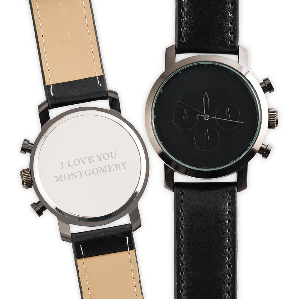Personalized Men's Black Wristwatch - Custom Serif Font