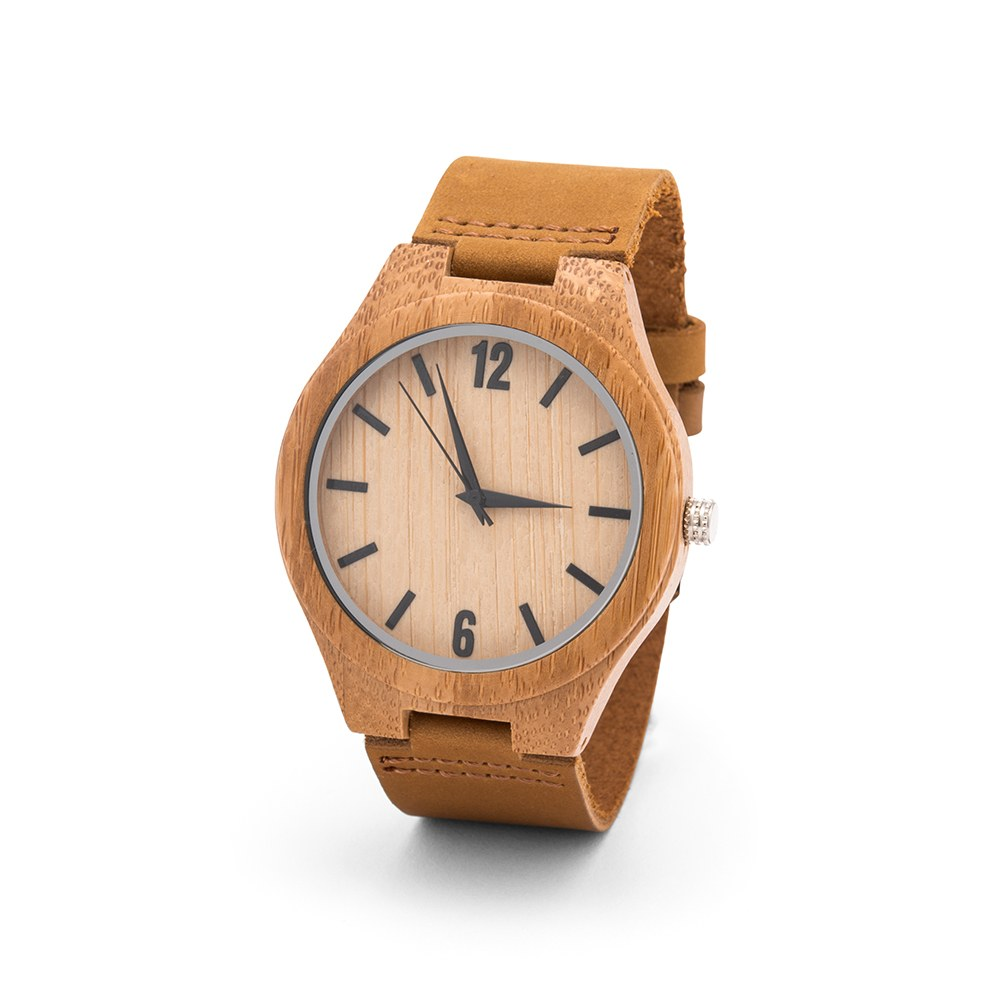 Personalized Men's Wooden Wristwatch - Wrap Text Monogram