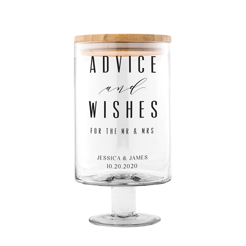 Personalized Glass Wedding Wishes Guest Book Jar - Advice and Wishes