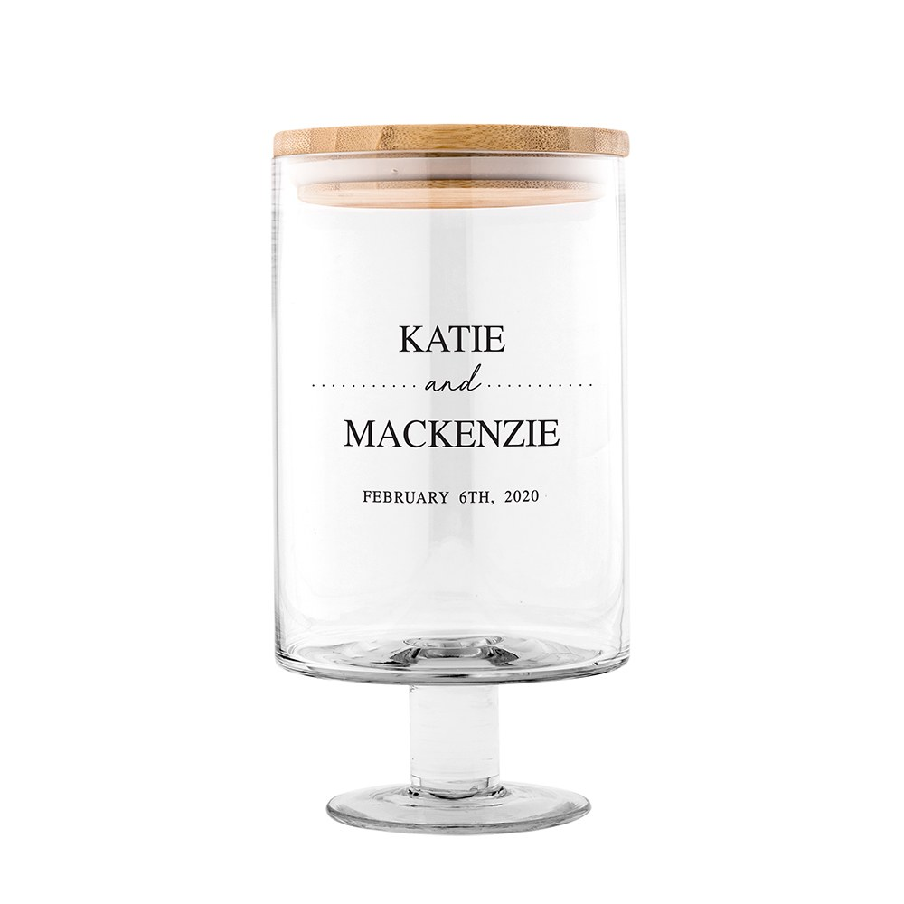 Personalized Glass Wedding Wishes Guest Book Jar - Classic Couple