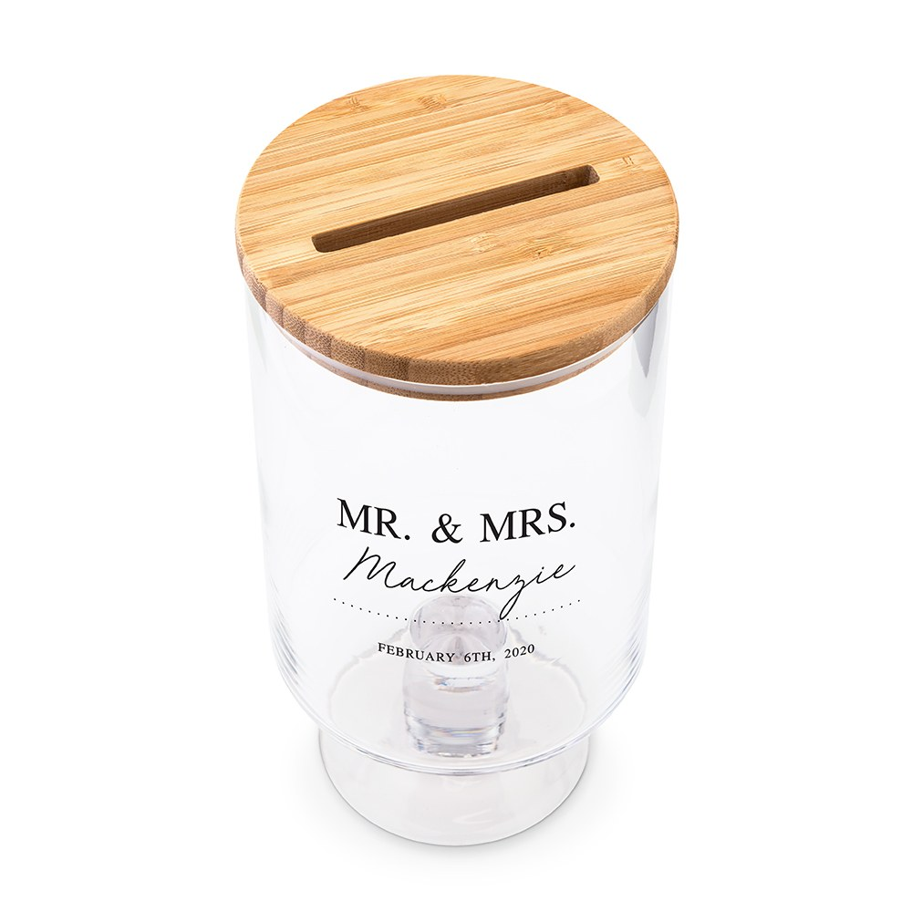 Personalized Glass Wedding Wishes Guest Book Jar - Mr. & Mrs.