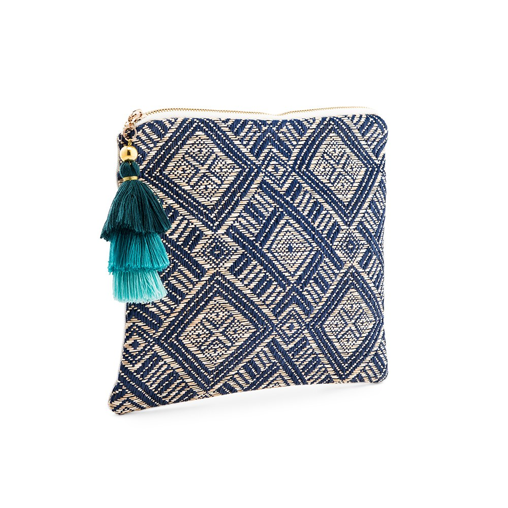 Women's Personalized Geo Tribal Print Makeup Bag - Navy Blue
