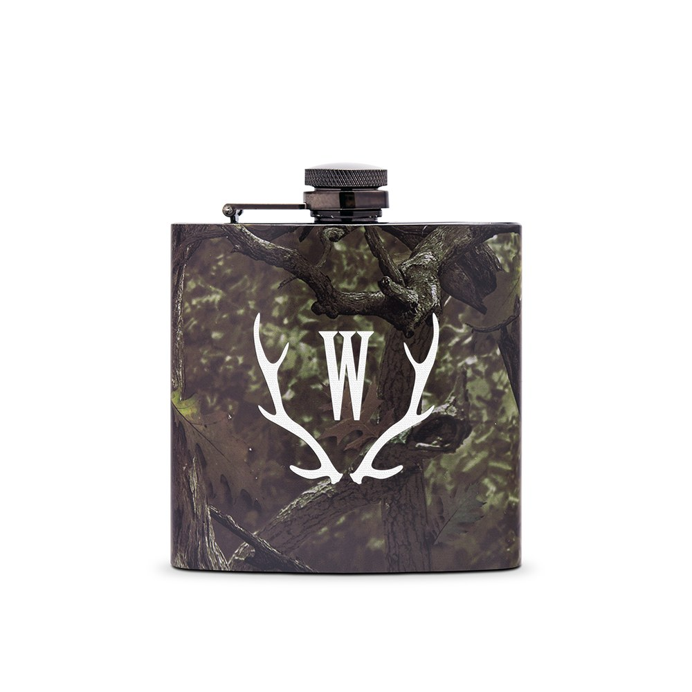 Personalized Camo Hip Flask Wedding Gift - Antler Monogram