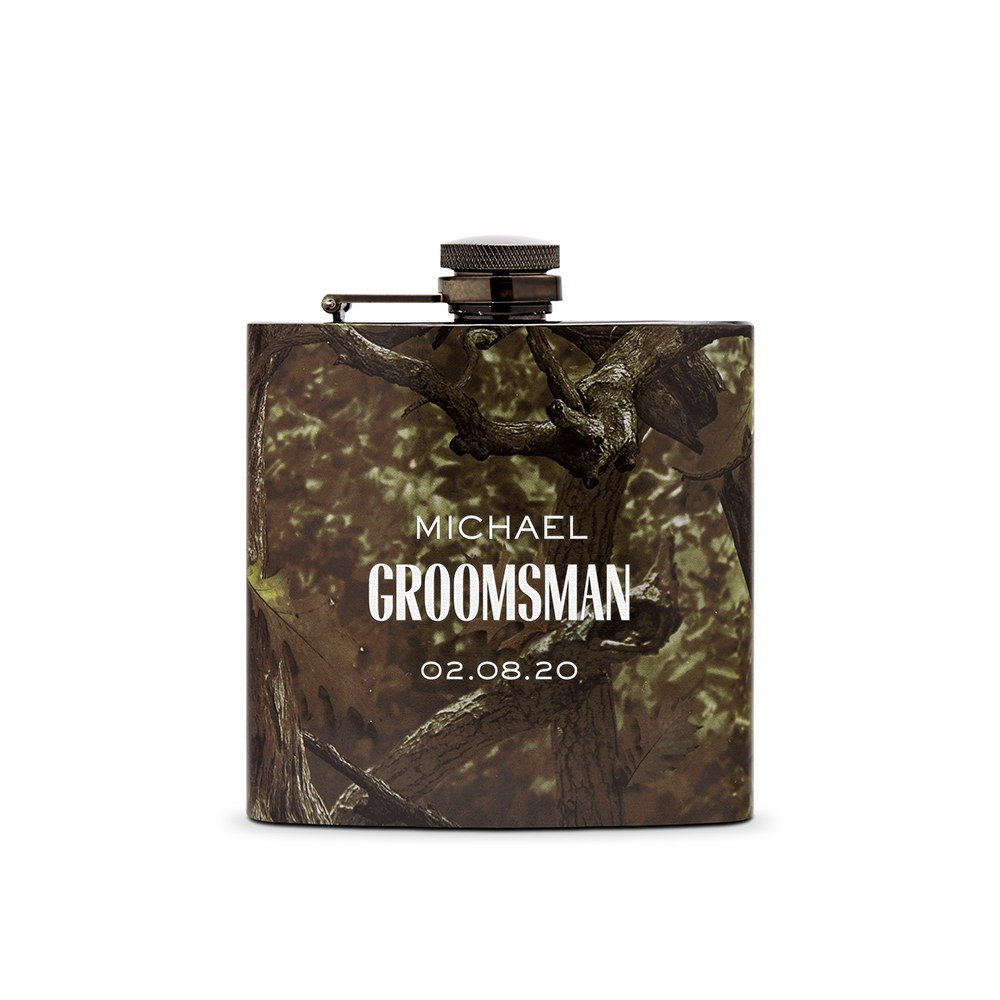 Personalized Camo Hip Flask Wedding Gift - Modern Groomsman