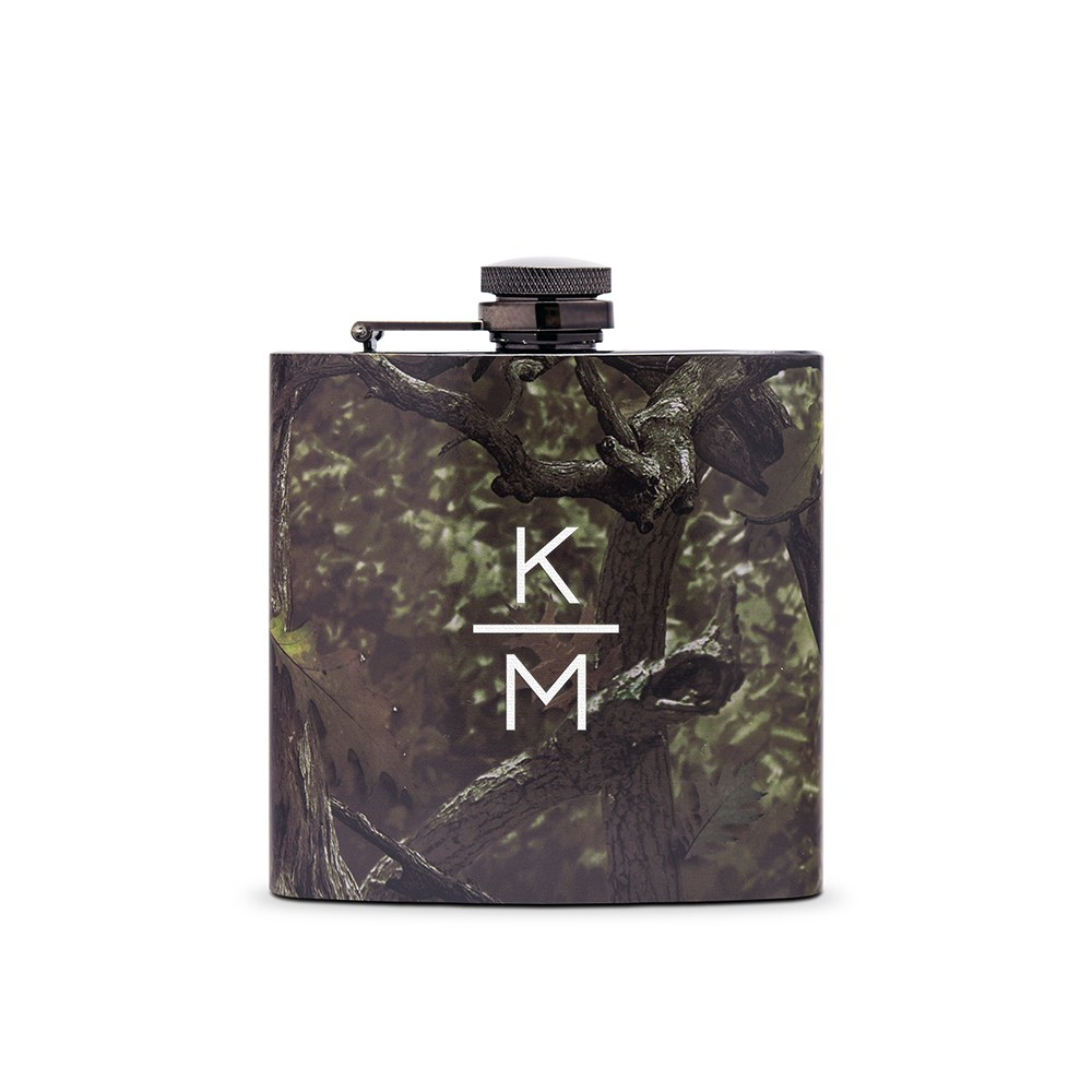 Personalized Camo Hip Flask Wedding Gift - Stacked Monogram