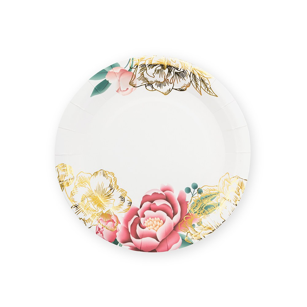 Small Round Disposable Paper Party Plates - Modern Floral - Set of 8