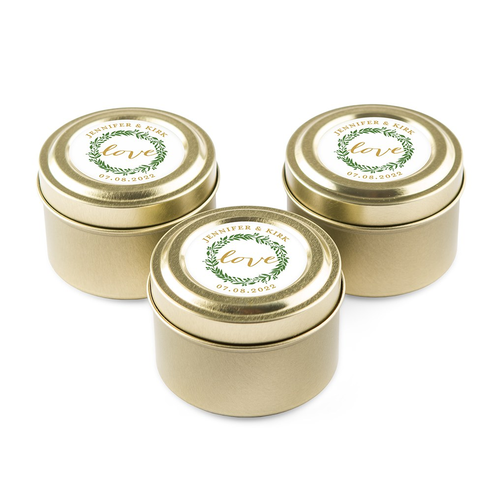 Personalized Gold Tin Candle Wedding Favor - Love Wreath