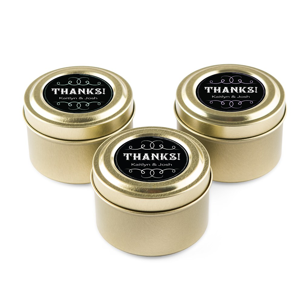 Personalized Gold Tin Candle Wedding Favor - Chalkboard