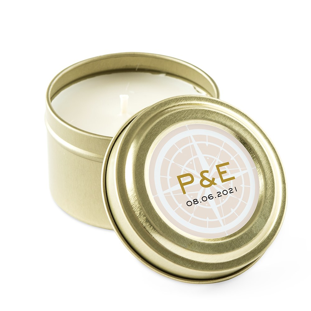 Personalized Gold Tin Candle Wedding Favor - Vintage Travel