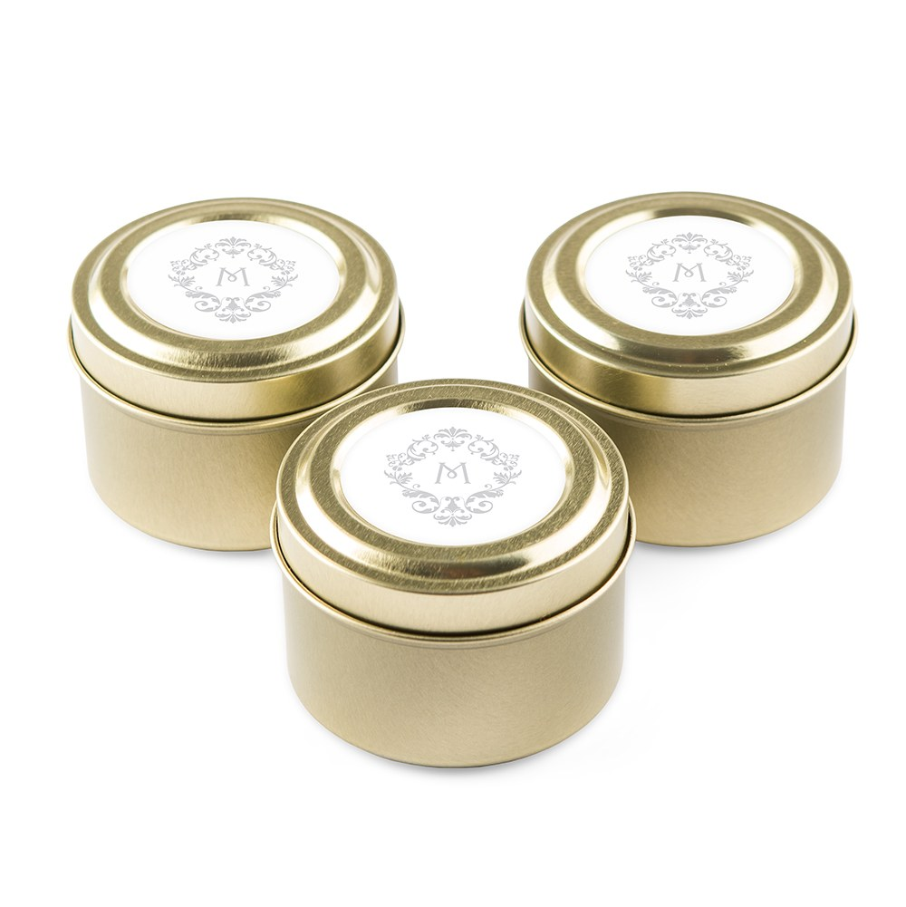 Personalized Gold Tin Candle Wedding Favor - Classic Filigree