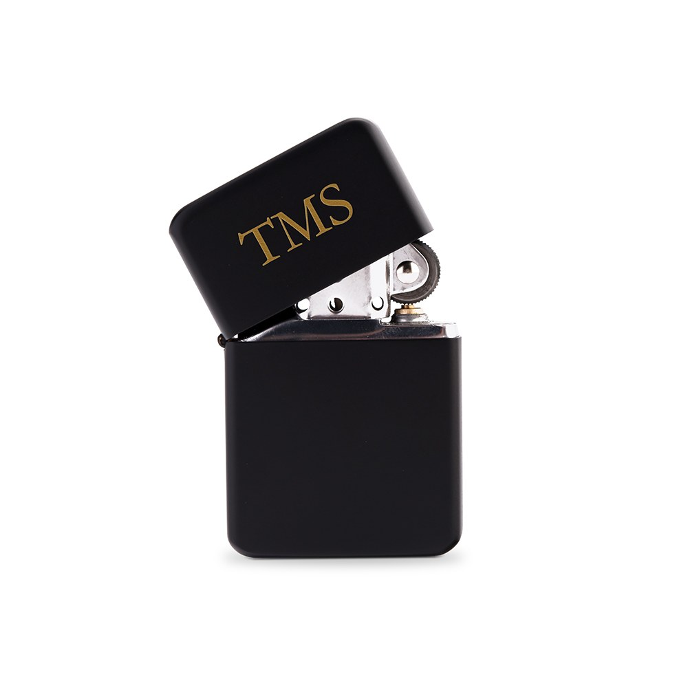 Custom Matte Black Windproof Lighter - Traditional Monogram Engraving
