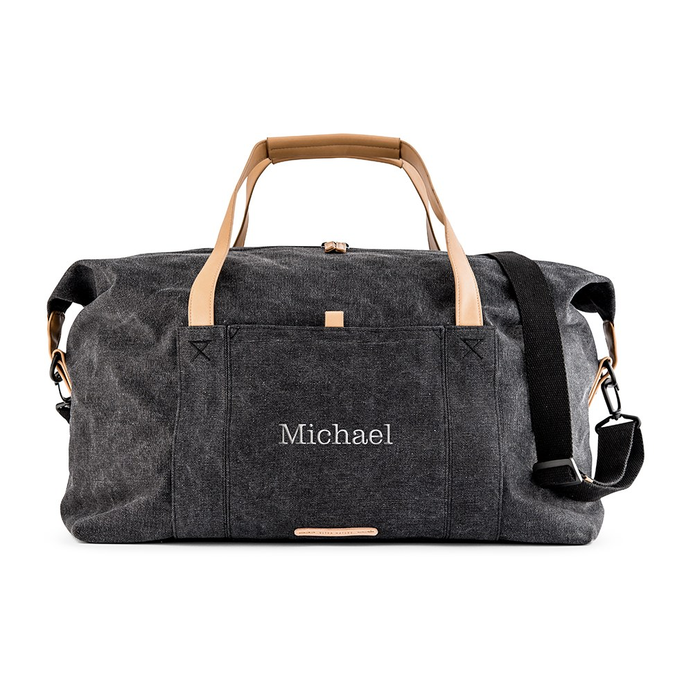 Large Personalized Canvas Travel Duffle Bag - Black