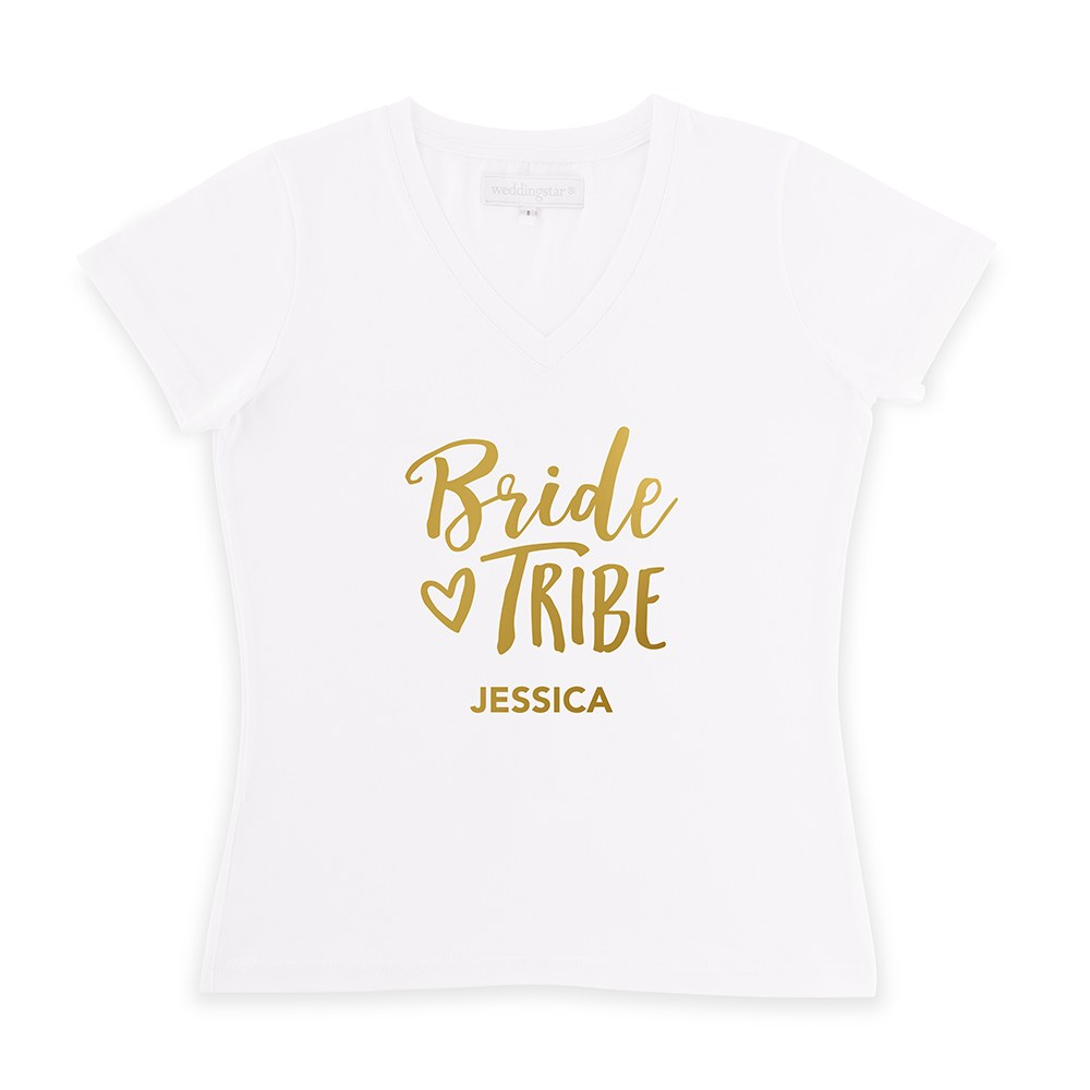 Personalized Bridal Party Wedding T-Shirt - Bride Tribe