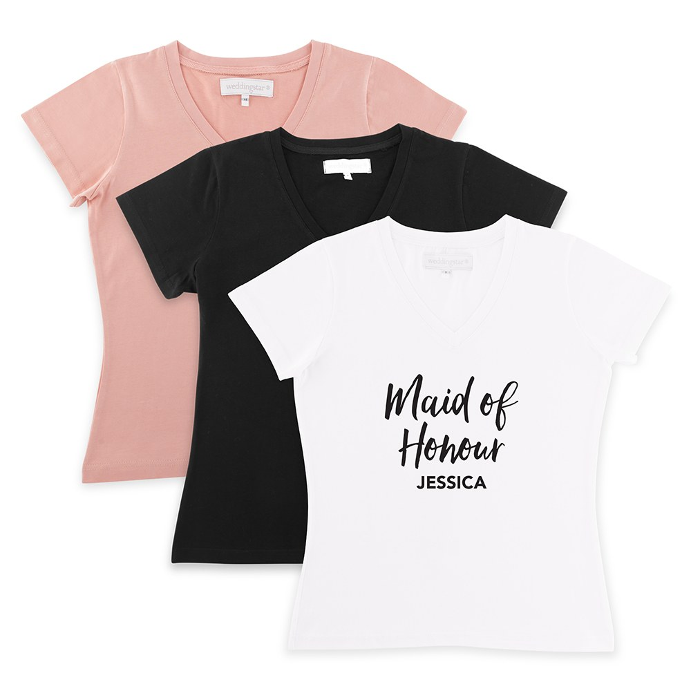 Personalized Bridal Party Wedding T-Shirt - Maid of Honour