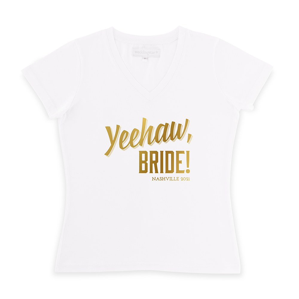 Personalized Bridal Party Wedding T-Shirt - Yeehaw Bride