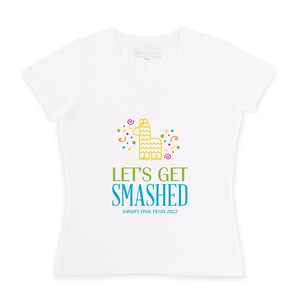 Personalized Bridal Party Wedding T-Shirt - Get Smashed