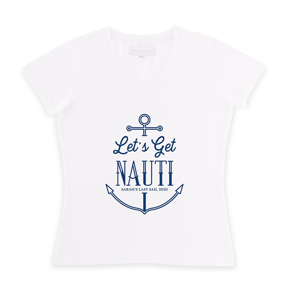 Personalized Bridal Party Wedding T-Shirt - Let's Get Nauti