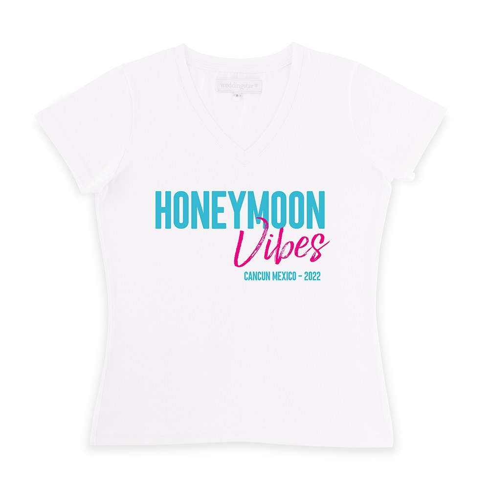 Personalized Bridal Party Wedding T-Shirt - Honeymoon Vibes