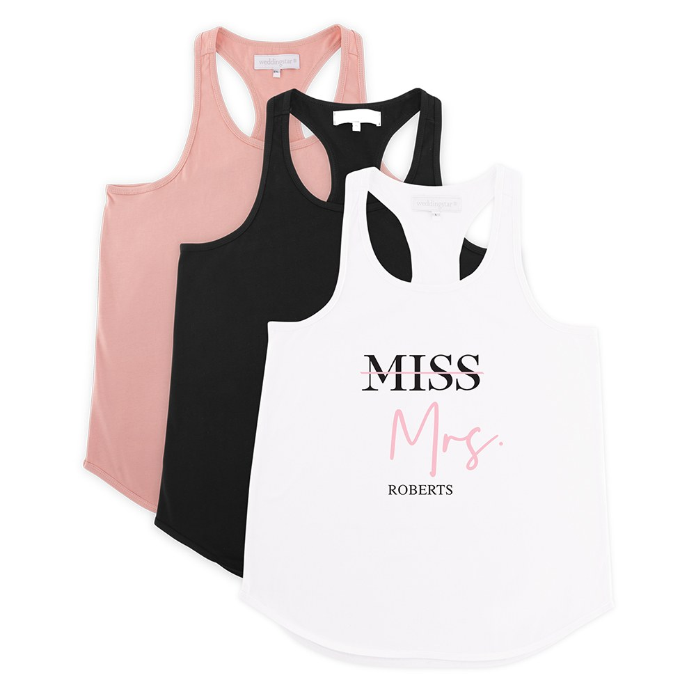 Personalized Bridal Party Wedding Tank Top - Miss to Mrs