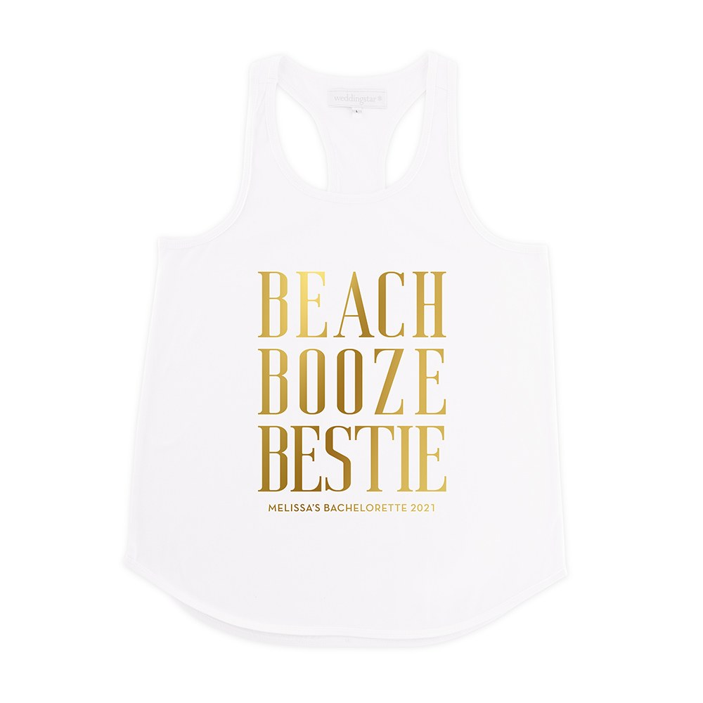 Personalized Bridal Party Wedding Tank Top - Beach, Booze, Bestie