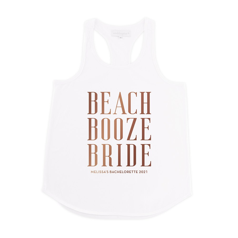 Personalized Bridal Party Wedding Tank Top - Beach, Booze, Bride