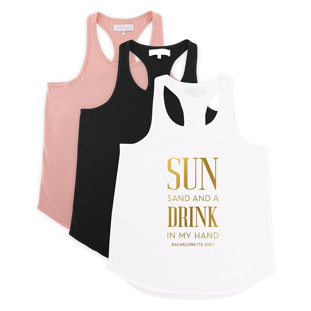 Personalized Bridal Party Wedding Tank Top - Drink In My Hand