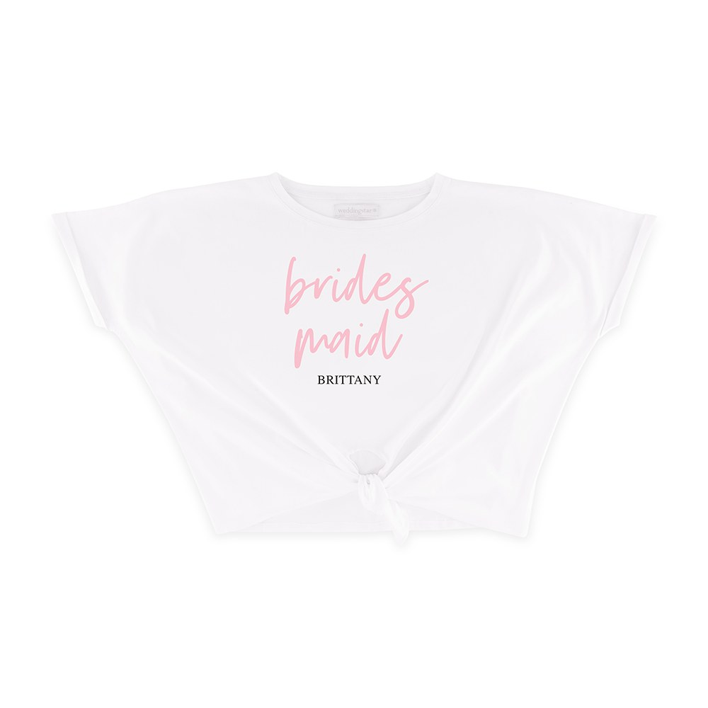 Personalized Bridal Party Tie-Up Wedding Shirt - Bridesmaid Script