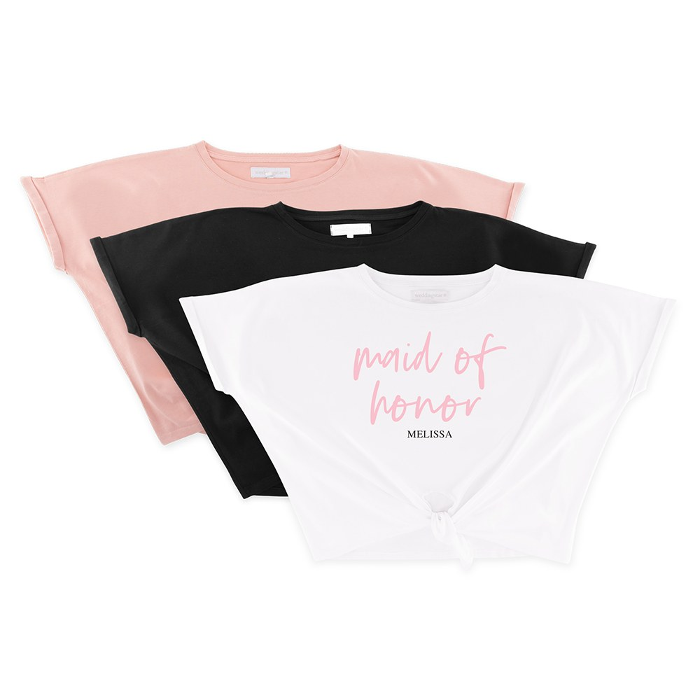 Personalized Bridal Party Tie-Up Wedding Shirt - Maid of Honor Script