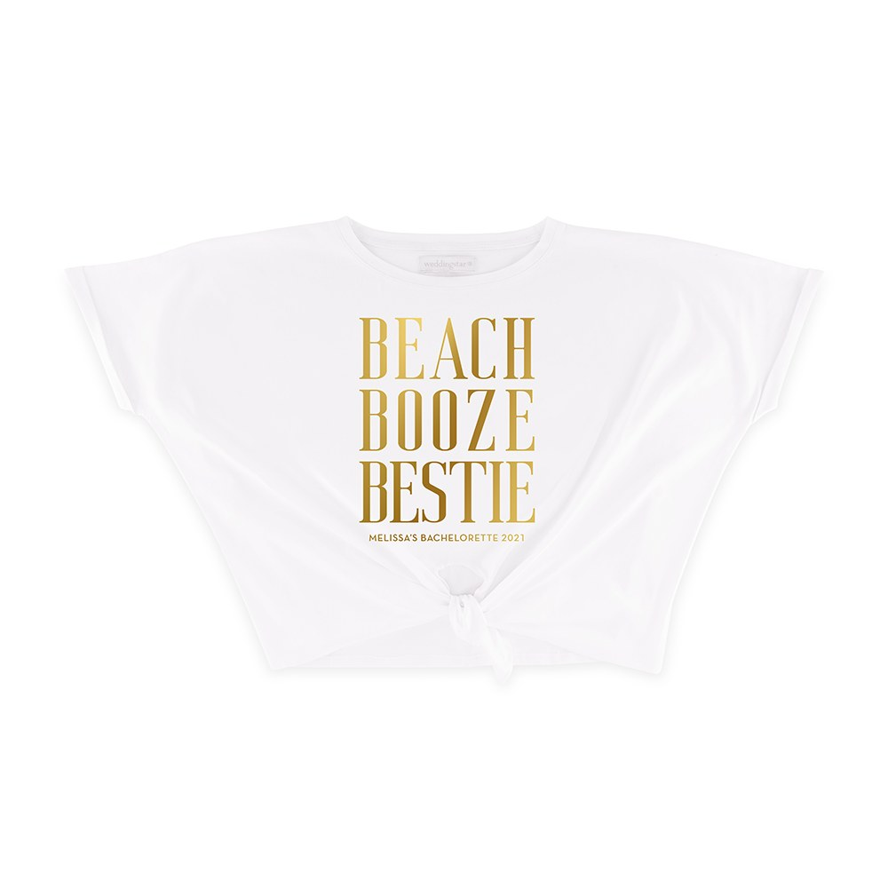 Personalized Bridal Party Tie-Up Wedding Shirt - Beach, Booze, Bestie