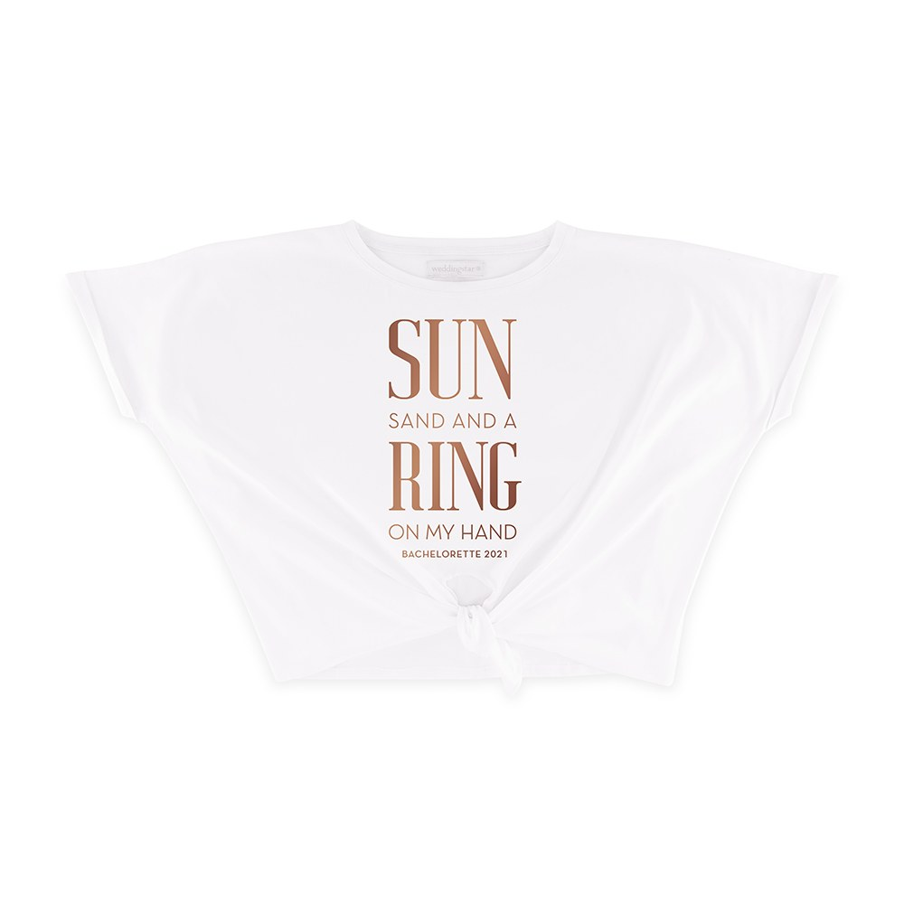Personalized Bridal Party Tie-Up Wedding Shirt - Ring On My Hand