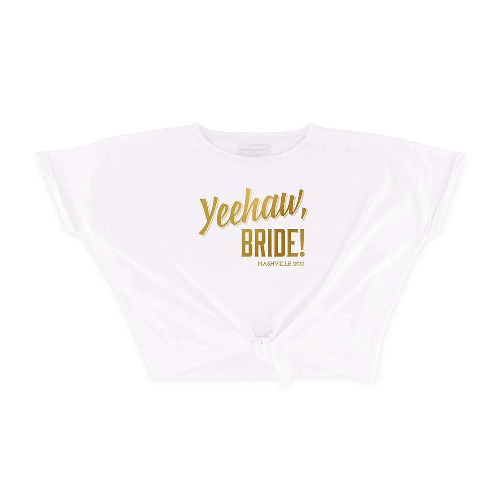 Personalized Bridal Party Tie-Up Wedding Shirt - Yeehaw Bride