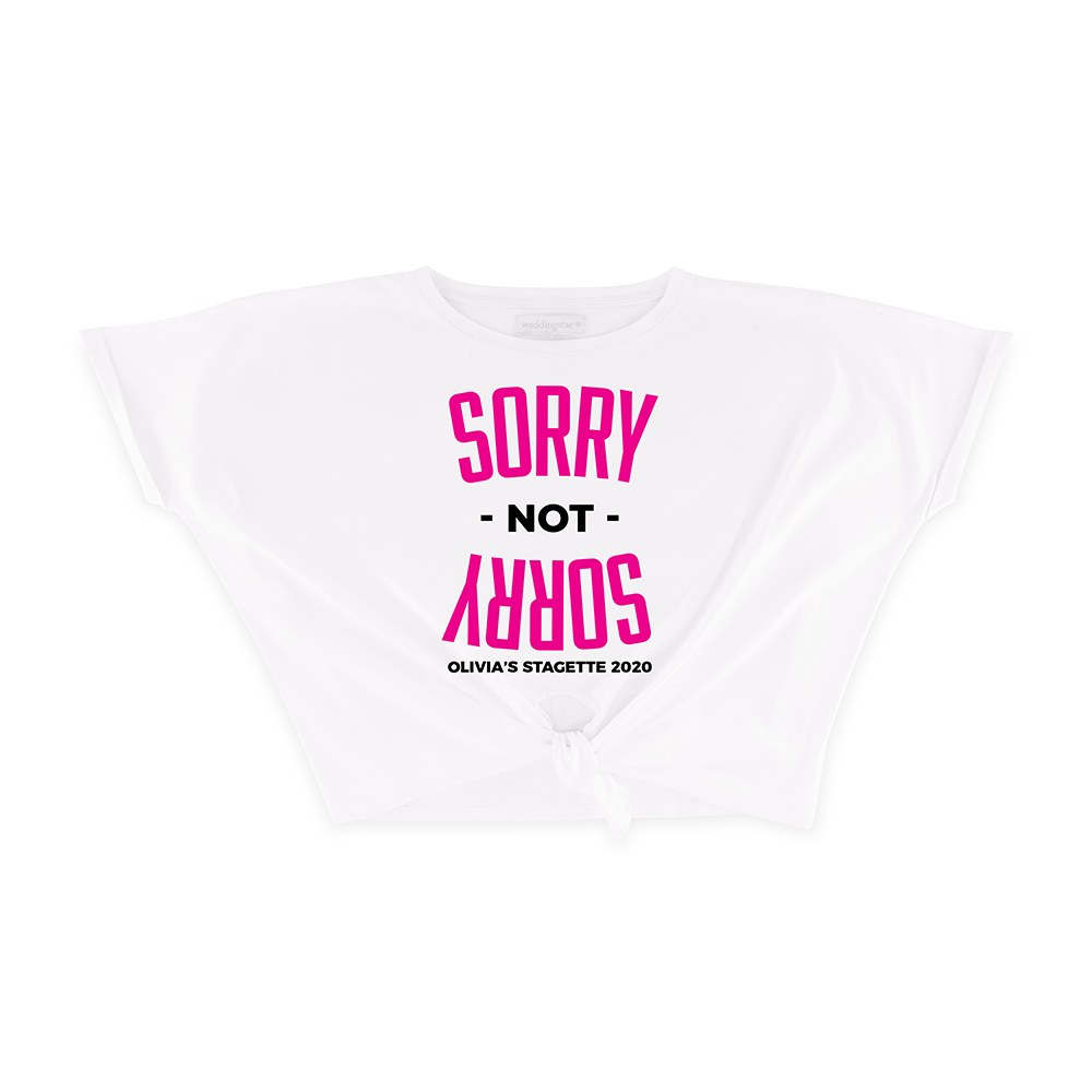 Personalized Bridal Party Tie-Up Wedding Shirt - Sorry Not Sorry