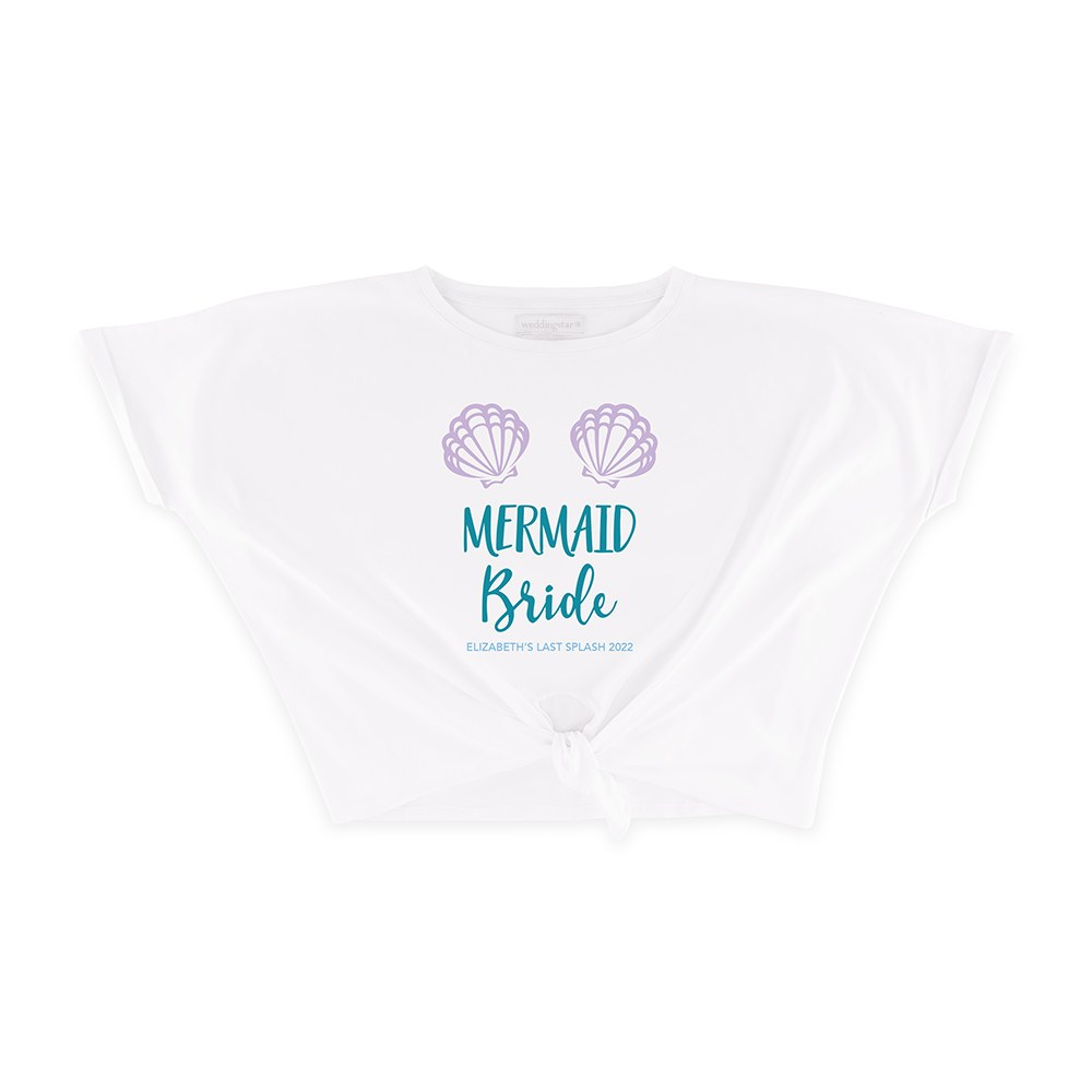 Personalized Bridal Party Tie-Up Wedding Shirt - Mermaid Bride
