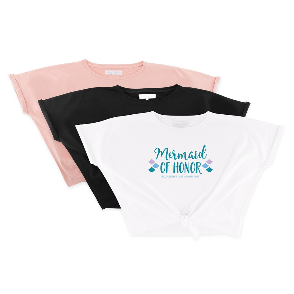 Personalized Bridal Party Tie-Up Wedding Shirt - Mermaid of Honor