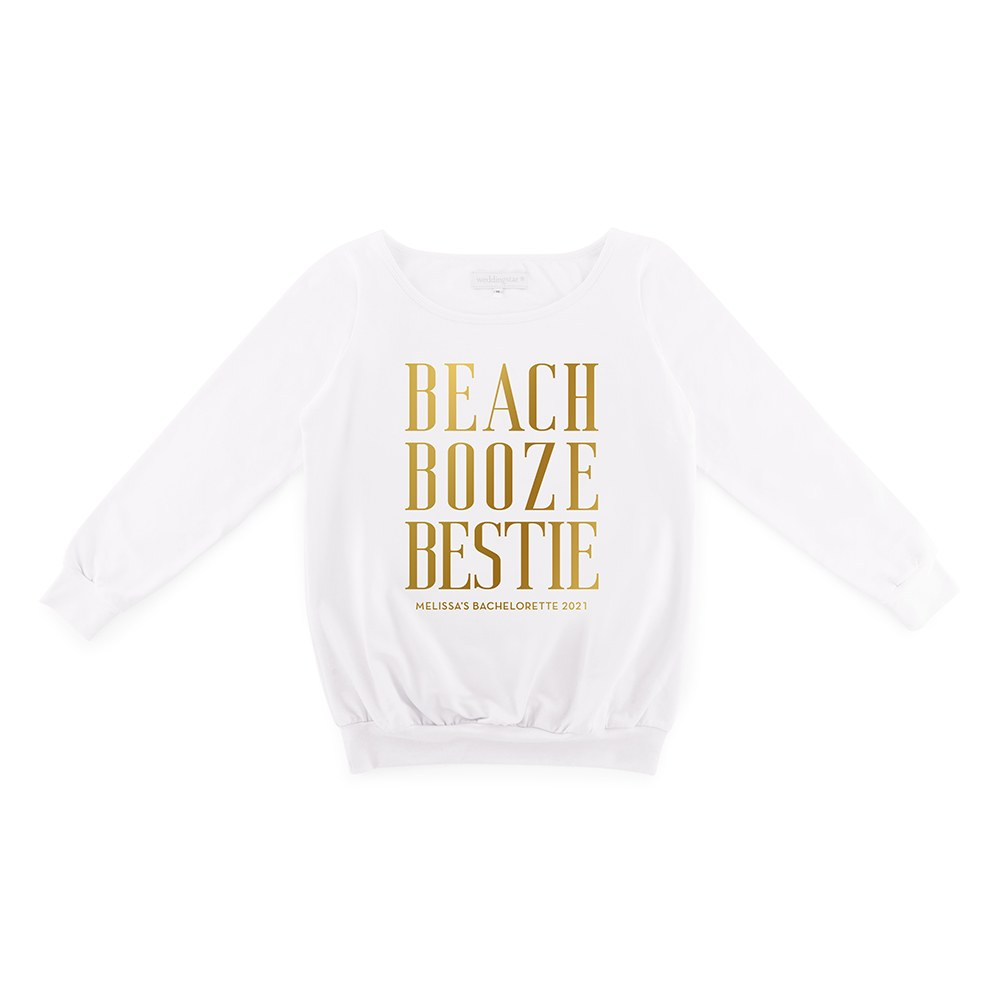 Personalized Bridal Party Wedding Sweater - Beach, Booze, Bestie