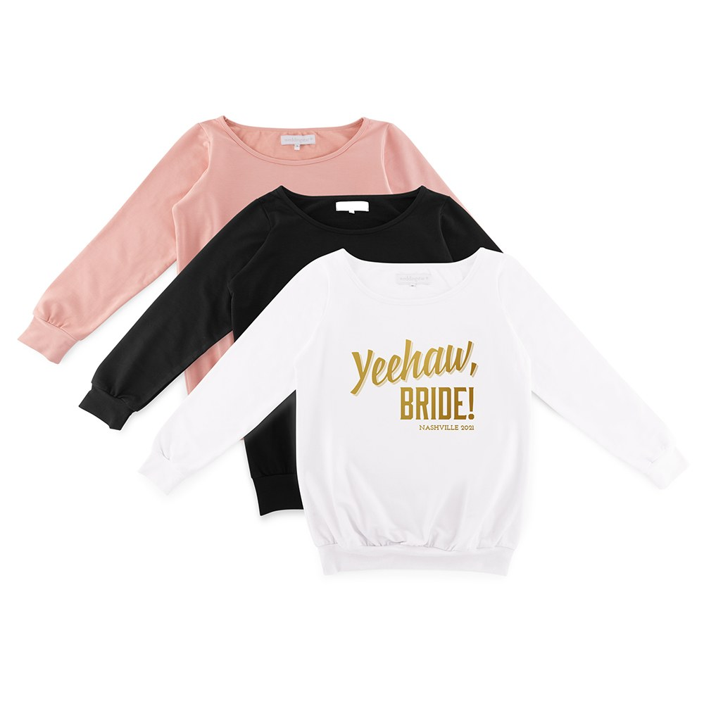 Personalized Bridal Party Wedding Sweater - Yeehaw Bride