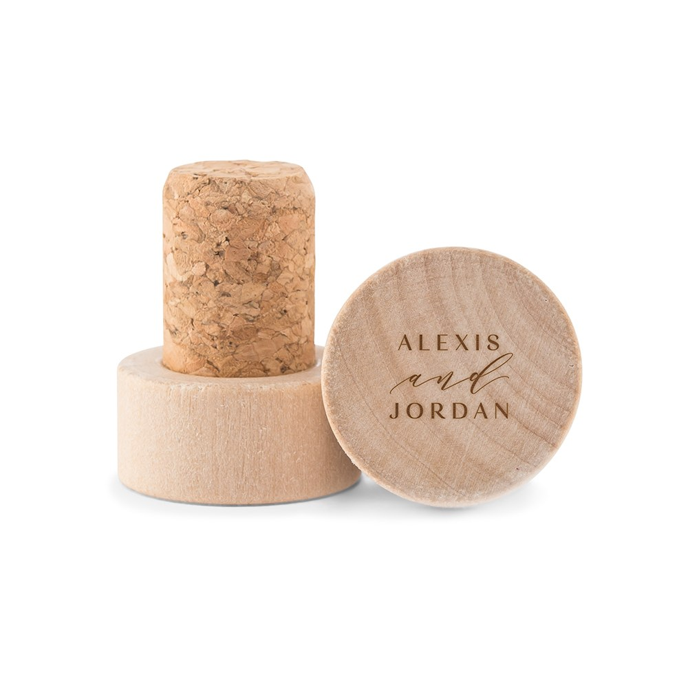 Custom Engraved Reusable Wooden Bottle Stopper - Modern Couple
