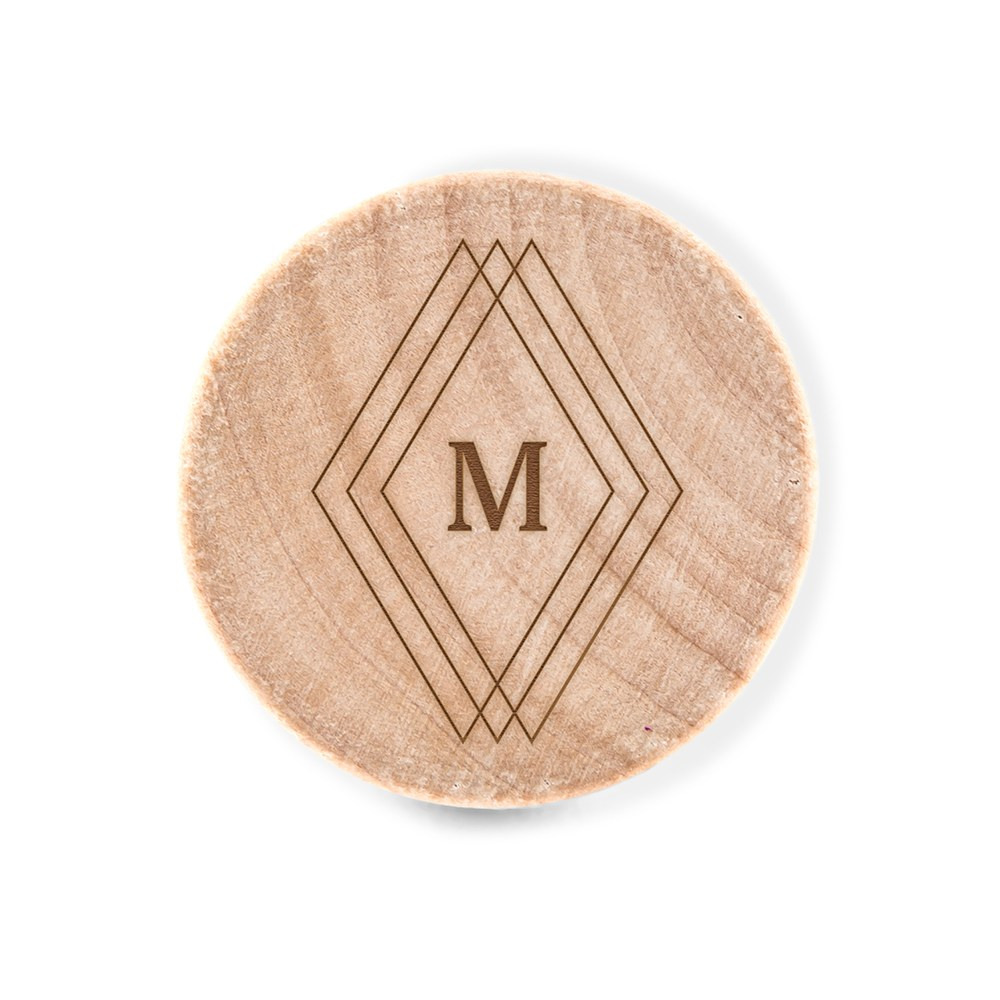 Custom Engraved Reusable Wooden Bottle Stopper - Diamond Emblem