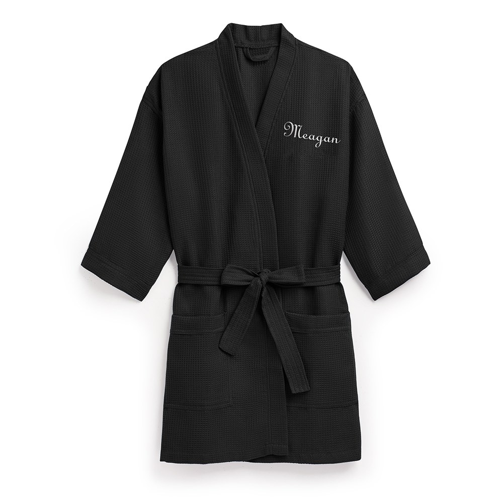 Women's Personalized Embroidered Waffle Knit Robe - Black