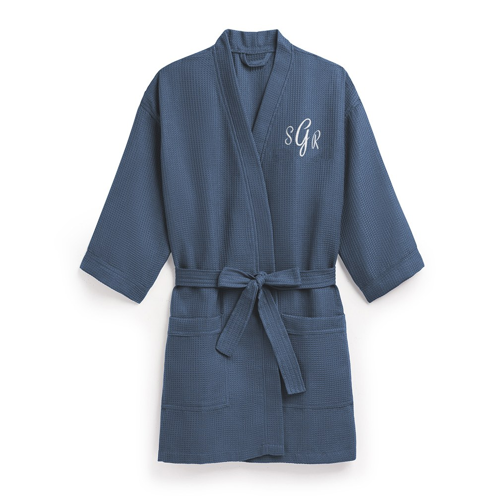 Women's Personalized Embroidered Waffle Knit Robe - Navy Blue