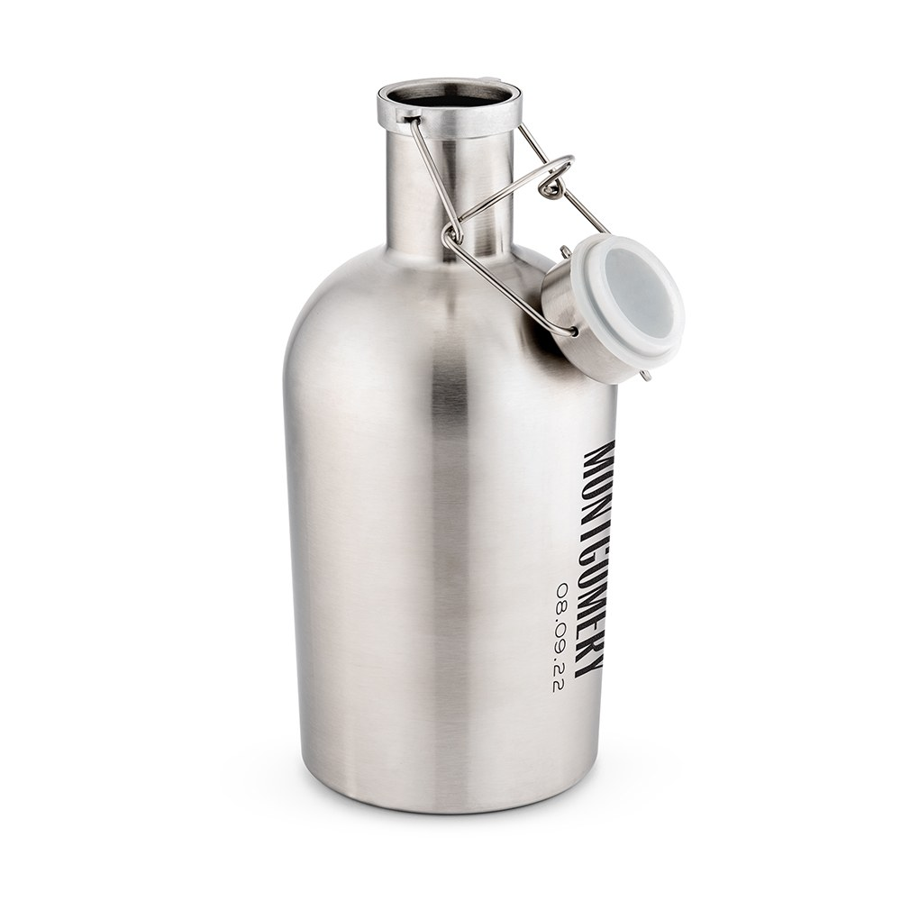 Personalized Stainless Steel Flip-Top Beer Growler - Vertical Text Monogram