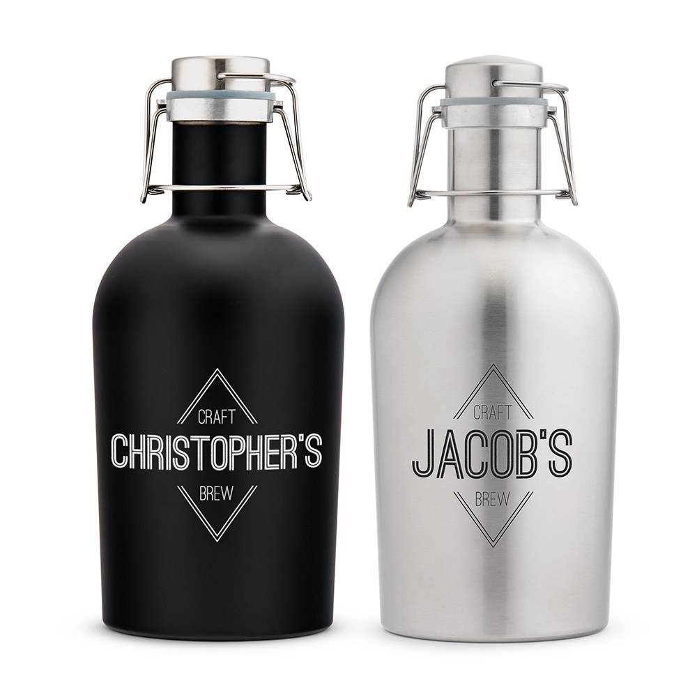 Personalized Stainless Steel Flip-Top Beer Growler - Diamond Emblem