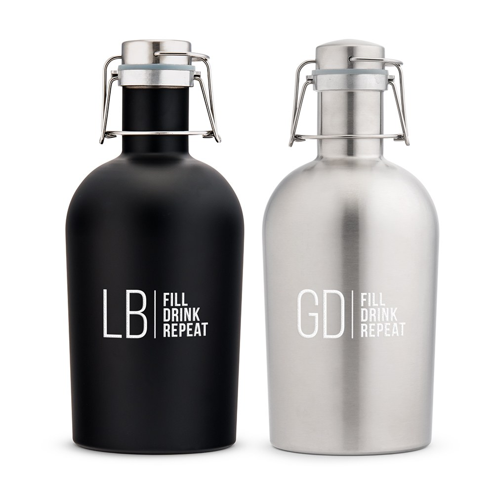 Personalized Stainless Steel Flip-Top Beer Growler - Modern Monogram & Text