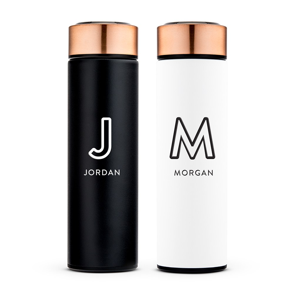 Personalized Stainless Steel Cylinder Travel Bottle - Line Initial